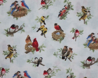 Beautful Bird Print Pure Cotton Fabric from Elizabeth's Studio--One Yard