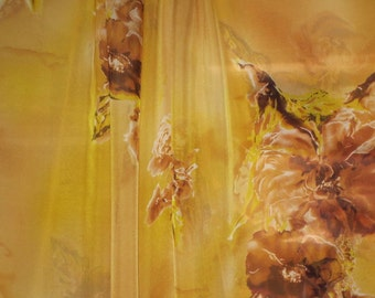 Golden Tan and Yellow Floral Silk Chiffon Fabric--One Yard