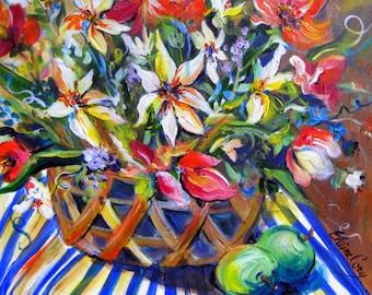 Flower Basket still life oil painting 20 x 20 Original Art by Elaine Cory