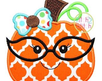 "Pumpkin Glasses Girl Applique, Shown with our ""Hambone"" Font NOT Included, Sizes 4x4, 5x5, & 6x6 INSTANT DOWNLOAD available"