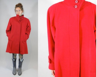 80s London Fog / Vintage 80s / 1980s  London Fog -- Tempo Europa Red Wool Swing Coat