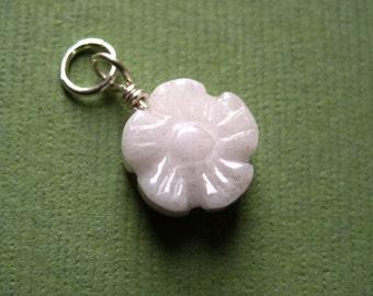 Pretty Rose Quartz 3D Flower Dangle Charm