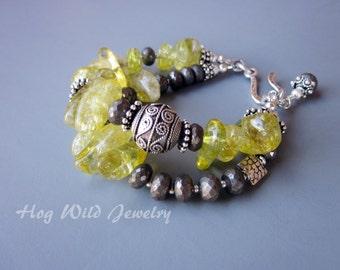 Pyrite Yellow Quartz Multi Strand Silver Bracelet