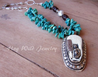 Handcrafted Artisan Turquoise Horse Nepalese Pendant Necklace