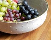 Ceramic Gold Rim Bowl - White Polka Dot Wide Mouth Bowl - Pottery Serving Bowl