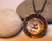 Silver necklace, Copper, Brass and Sterling Silver Nest Necklace, Multi Metal necklace Pendant, ready to ship