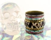 Vintage Brass, Shell and Dyed Abalone Pearl BOHEMIAN GYPSY wide CUFF