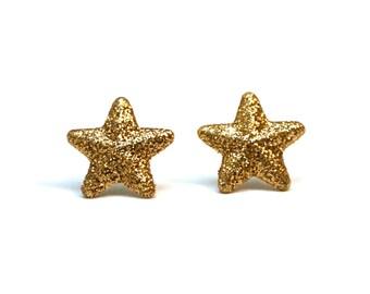 Gold glitter star earrings