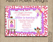 Girls Canvas Paint Party, Paint Your Own Canvas/Pottery Birthday Party, Painting Party Invitations - Girls