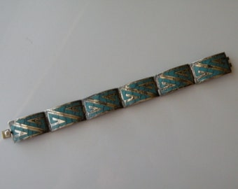Vintage Mexican Taxco sterling silver turquoise inlay bracelet. Eagle mark.