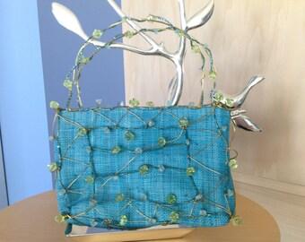 Bright Aqua Blue Linen Handbag with Crystals