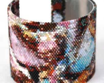 Lavender Violet Orange Pink Beaded Cuff Bracelet  Leaves#