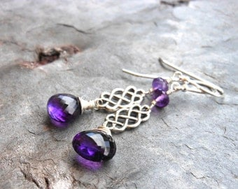 Amethyst Earrings Dangle Celtic Sterling Silver Purple Gemstone Earrings February Birthstone