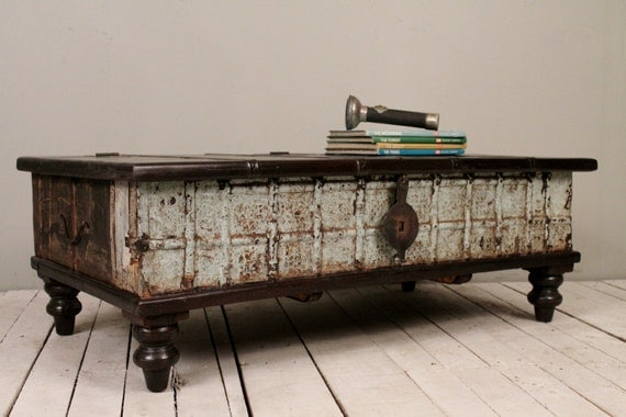 Seafoam blue green reclaimed salvaged antique indian wedding Indian trunk coffee table