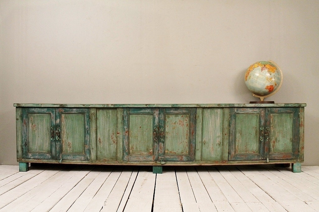 long and low reclaimed antique sideboard media console tv. Black Bedroom Furniture Sets. Home Design Ideas