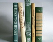 Vintage Book Collection Home Decor Instant Library Set of 5 Green and Tan Books Photo Prop Shelf Display Wedding Decor