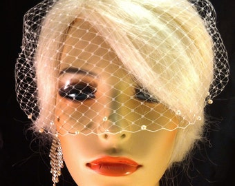 Birdcage Veil, Birdcage Bandeau Veil, Wedding Veil with Swarovski Pearl Edge, Comes in Ivory, White, Champagne and Black