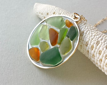 Sea Glass Necklace, Beach Glass Pendant, Camo Necklace, Army Jewelry, Olive Green, Amber, Beach Necklace, Camouflage