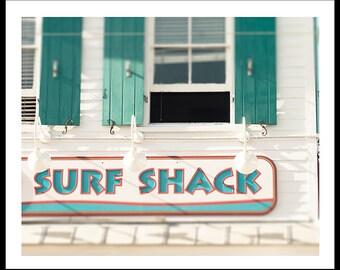Art, Photography, Surf Shack Print, Boardwalk, Summer, Turquoise Shutters, Coastal Home Decor, Beach Print