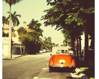 Fine Art Photography, Vintage Look Photography, Road Trip, Retro, Sepia, Summer, Orange Car, Fine Art print