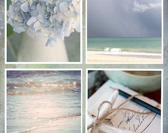 Coastal Blues, Cottage By The Sea,Set of 4 Fine Art Photography Prints, Nature Photography, Home Decor, Ocean Blues, Ivory, 8x8 prints