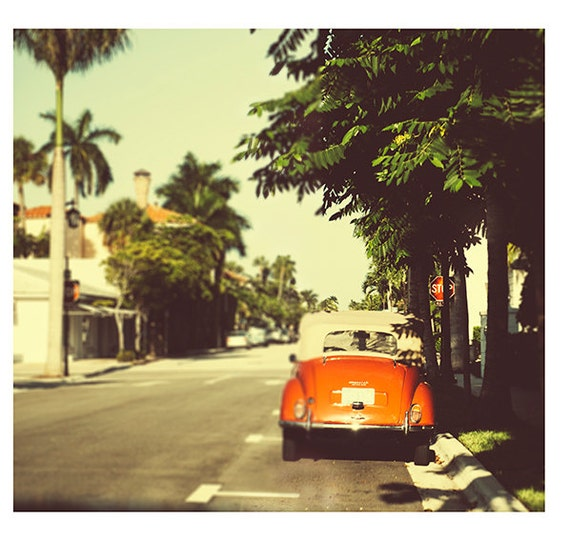 Fine Art Photography, Vintage Look Photography, Road Trip, Retro, Sepia, Summer, Orange Car, Fine Art print