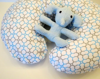 Boppy Nursing Pillow Cover: Light Blue and Grey on White Geometric Flannel
