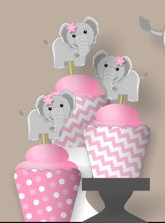Pink Elephant 1st Birthday Party or Baby Shower Decorations Girl