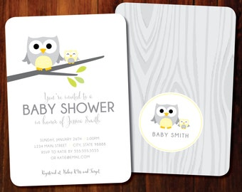Owl baby shower invitations, double sided - set of 15