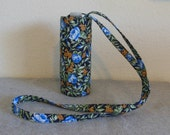 Insulated Water Bottle Carrier - Blue Flowers and Yellow Berries