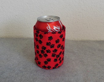 Insulated Can Cooler - Paw Prints