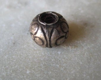Vintage Silver Bead: Authentic Handmade Round Large Hole Tribal Thai-Khmer, Etched Ethnic Flower Design, 8mm, One piece (o)