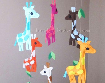 """Baby Crib Mobile - Baby Mobile - Baby Neutral decorative Mobile - """"Colorful Giraffes Friends"""" (Pick your color)"""