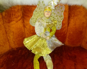 Celestial Elf Glitter Brocade Male Fairy with Pearls and Gold Fortune Teller Knome