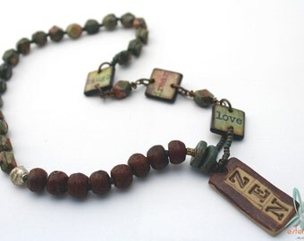 Zen - spiritual, yoga, unique necklace with handmade pendant and prayer beads