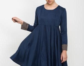 Blue mini length dress, women's Cocktail Dress, round neck, Bridesmaid Dress, long sleeve dresses, open back, party dress, full skirt, sale