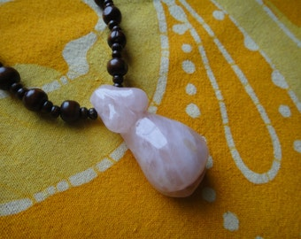 Mother Earth Rose Quartz Stone Goddess Prayer Bead Necklace Long Mala Japa Pregnant with Child Fertility Symbol Mature