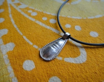 Silver Teardrop Ethiopian Charm Necklace Tribal Ethnic Pendant Middle Eastern Boho Jewelry