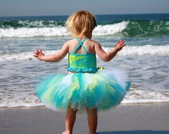 Light Blue Yellow Turquoise Tutu...Summer Beach Tutu, Birthday Tutu...Baby, Toddler, Girls, Adult Sizes . . . SUMMER BREEZE