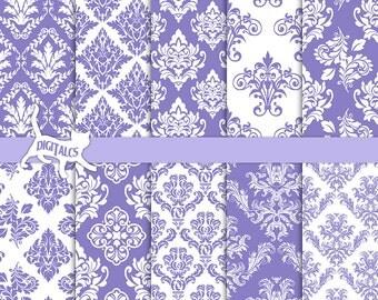 Purple damask digital paper scrapbook paper purple printable paper Purple paper Purple digital Commercial use