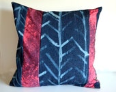 Tribal Pillow Cover, Arrow Pillow, Denim Pillow, Colorblock Pillow Cover - Southwestern Decor - Hand Dyed Striped Pillow Pink and Blue