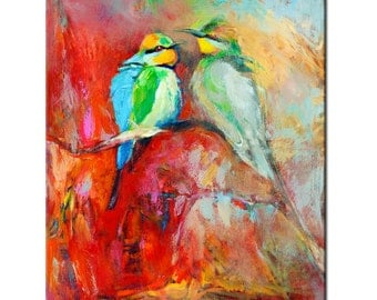 Bird painting 24x20in, Portrait Painting Original Art Impressionistic OIl on Canvas by Ivailo Nikolov