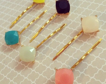 Translucent Stone Hair Pins: Set of 6 Embellished Bobby Pins