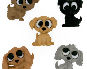 Playing Puppies Plastic  Buttons / Sewing supplies / DIY craft supplies / Novelty Buttons / Party Supplies / Kids craft supplies