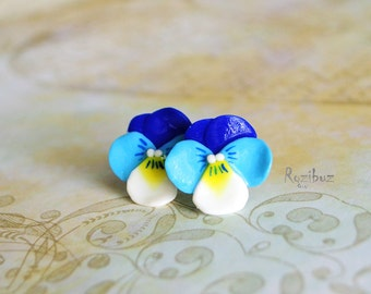 Flower earrings ear studs navy blue earrings from polymer clay, Cornflower earrings, turquoise, for her girl, mother's day - made to order