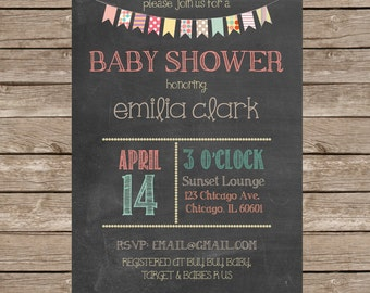 Chalkboard Bunting Banner Baby Shower Invitation - DIY or Professionally Printed Cards