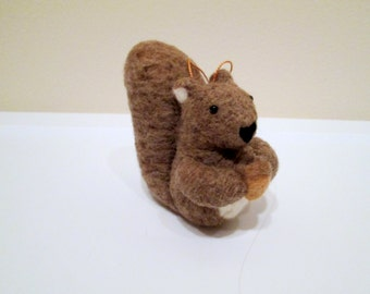 Squirrel Ornament - Felted Christmas Ornament - Needle Felted Animal