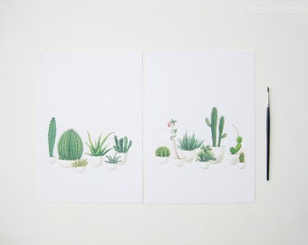 Cactus Watercolor Print Set - Any TWO Cactus Art, Cactus Print / 8x10 OR 8x11 Botanical Prints, Modern Home Decor