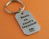 Focus on What's Important Photographer Hand Stamped Keychain