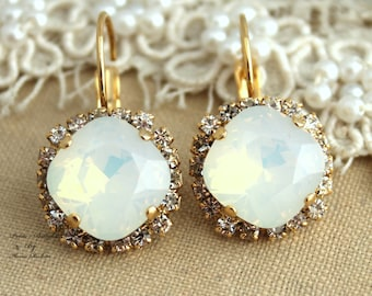 White Opal Drop Earrings Swarovski Drop Earrings Jewelry By Ilonti Bridal Earrings Gift for her Bridesmaids Earrings Opal Drop Earrings
